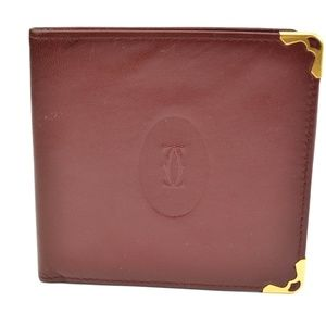 "CARTIER ""Must C"" Burgundy Leather & Logo Wallet my"